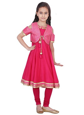 Chiquitita Pink Kids Embroidered Anarkali Suit