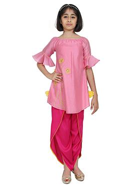 Chiquitita Pink Kids Indowestern Set