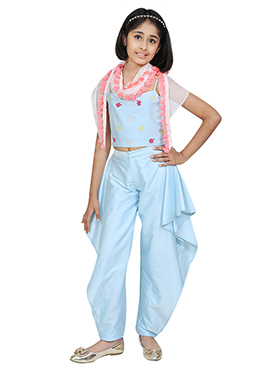 Chiquitita Sky Blue Kids Indowestern Set