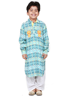 Chiquitita Sky Blue Kids Printed Kurta Set
