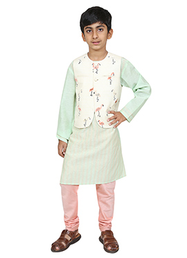 Chiquitita White N Light Green Kids Bandi Set