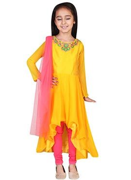 Chiquitita Yellow A- Symmetrical Kids Anarkali Sui