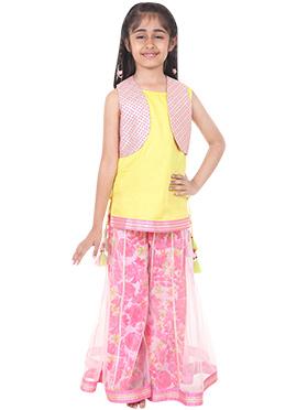 Chiquitita Yellow N Pink Palazzo Set For Girls