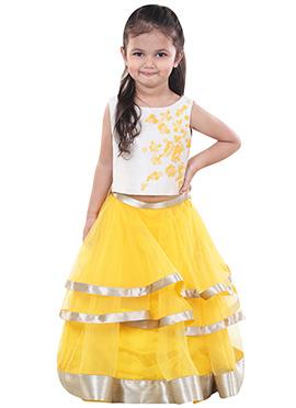 Chiquitita Yellow Net Kids Layered Lehenga Choli