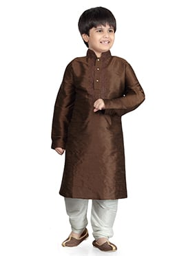 Chocolate Brown Art Dupion Silk Kids Kurta Pyjama