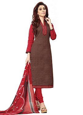 Chocolate Brown Cotton Printed Straight Suit