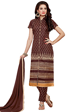 Chocolate Brown Embroidered Cotton Straight Pant Suit