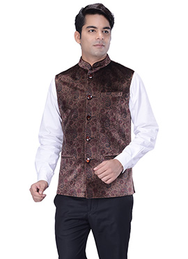 Chocolate Brown Velvet Nehru Jacket