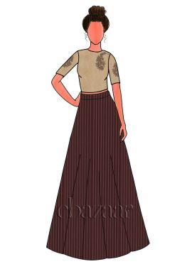 Chocolate Brown Zari Work Satin Skirt Set