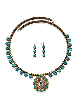 Choker Style Stone Adorned Necklace Set