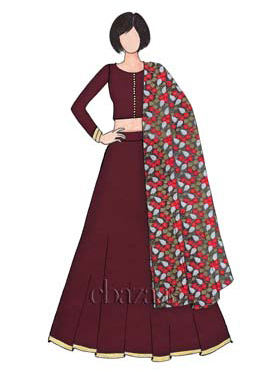 Classic Dark Brown Art Raw Silk Umbrella Lehenga