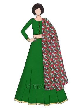 Classic Dark Green Art Raw Silk Umbrella Lehenga