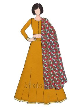 Classic Mustard Yellow Art Raw Silk Umbrella Lehenga