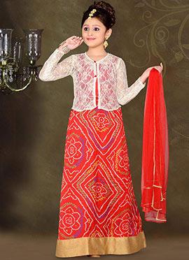Classy Red Art Silk Teens Lehenga Choli