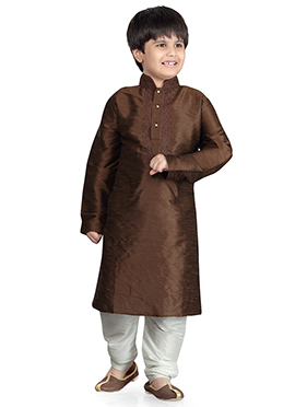 Coffee Brown Art Dupion Silk Kurta Pyjama