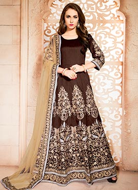 Coffee Brown Embroidered Floor Length Anarkali Sui