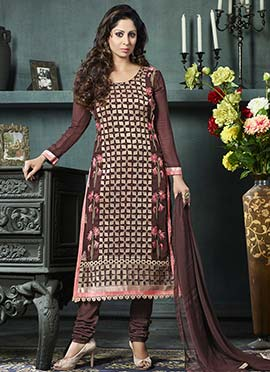 Coffee Brown Georgette Embroidered Straight Suit