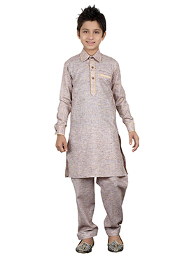 Coffee Grey Kids Kurta Pyjama