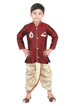 Combo Of Kids Maroon Dhoti Kurta
