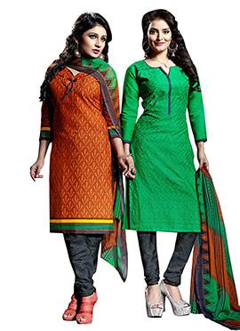 Combo Set Green N Rust Churidar Suit