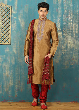 Copper Brown Art Dupion Silk Kurta Pyjama