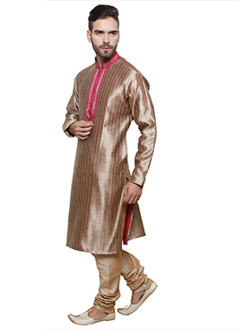 Copper Brown Art Silk Kurta Pyjama
