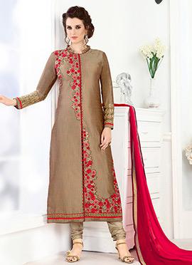 Copper Brown Art Silk Straight Suit