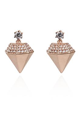Copper Brown Diamond Design Danglers