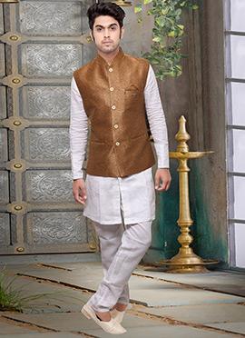 Copper Brown Jute Nehru Jacket