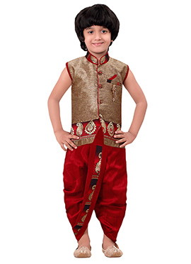 Copper Brown Kids Dhoti Kurta Set