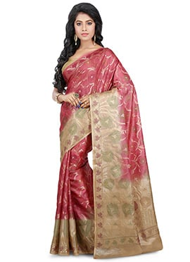 Dusty Pink Benarasi Pure Silk Saree