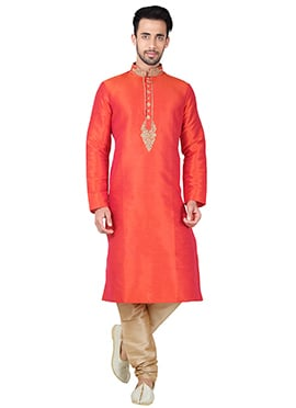 Coral Orange Art Silk Kurta Pyjama