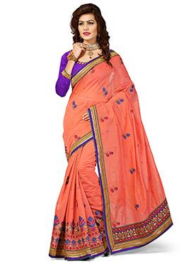 Coral Orange Chanderi Silk Embroidered Saree