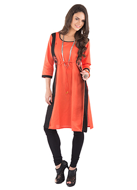 Coral Orange Linen Coat Style Kurti
