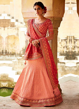 Coral Peach Art Silk Fish Cut Lehenga Choli