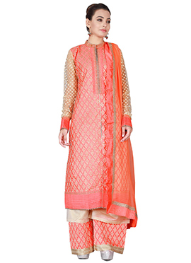 Coral Peach Art Silk Palazzo Suit