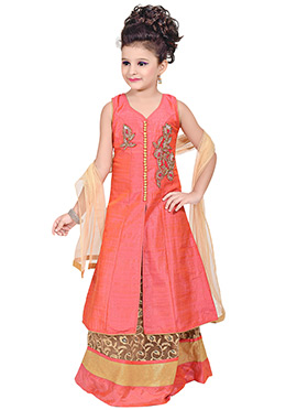 Coral Peach Benarasi Silk Long Choli Lehenga