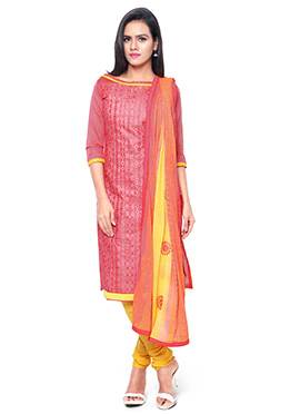Coral Peach Chanderi Cotton Embroidered Churidar S