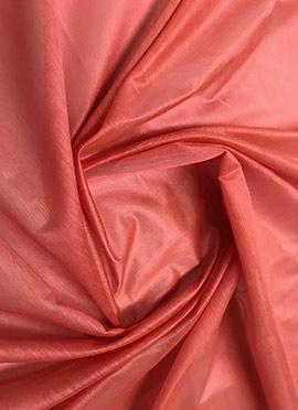 Coral peach Chanderi Cotton Fabric