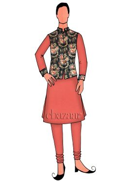 Coral peach Chanderi Cotton Indowestern Sherwani
