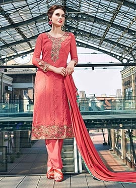 Coral Peach Embroidered Straight Pant Suit