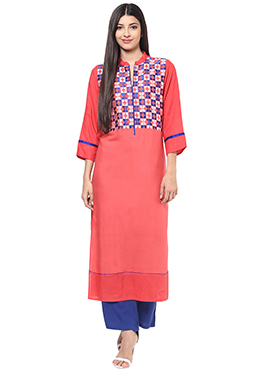 Coral Peach Embroidered Viscose Long Kurti