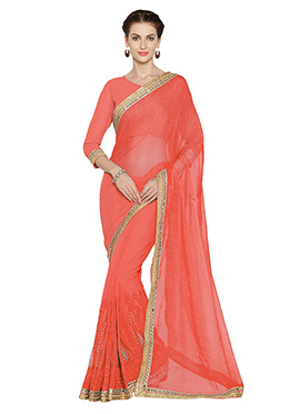 Coral Peach Georgette Chiffon Saree