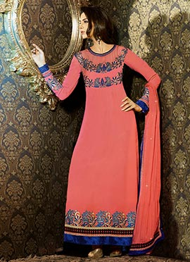 Coral Peach Georgette Straight Pakistani Suit