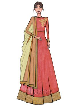 Coral Peach High Neck Embroidered Anarkali Suit
