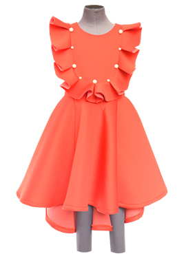 Fayon Coral Peach Lycra Kids Dress