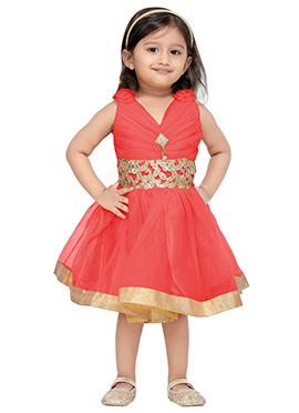 Coral Peach Net Kids Dress