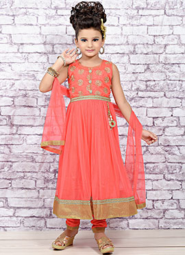 Coral Peach Net Teens Anarkali Suit