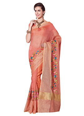 Coral Peach Supernet Embroidered Saree