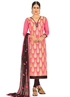 Coral Pink Art Benarasi Silk Straight Suit